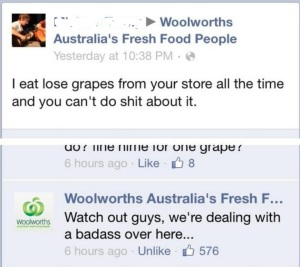 "post says ""I eat grapes every time and there is nothing you can do it stop it"" response: ""woh watchout guys, looks like we have a badass on our hands"""